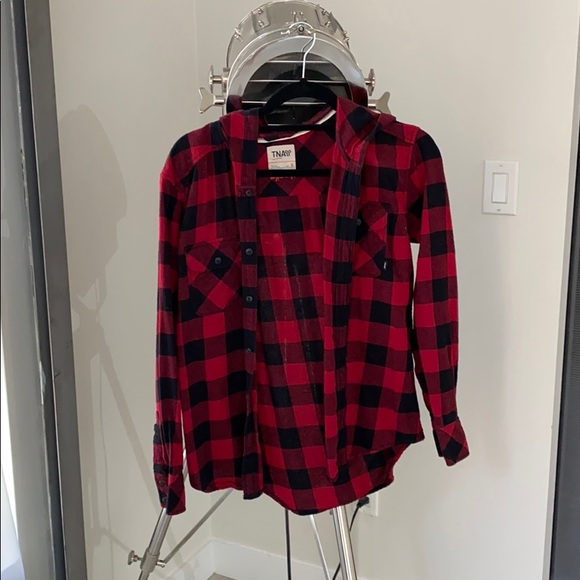 TNA Aritzia Plaid Button shirt with hood